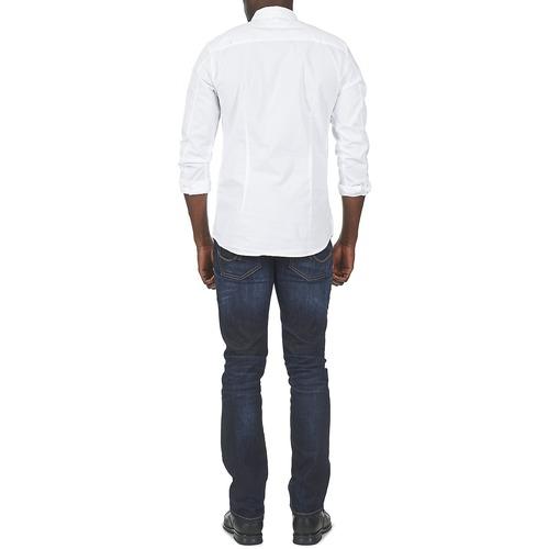 Textil Kantermi Hombre Blanco Larga Tommy Camisas Manga Jeans 34R5ALj