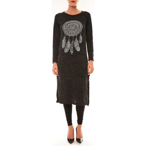 textil Mujer Vestidos largos By La Vitrine Robe Plume anthracite Gris