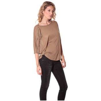 textil Mujer Camisetas manga larga Rich & Royal Tee-shirt Plumes 13q555 Camel Marrón