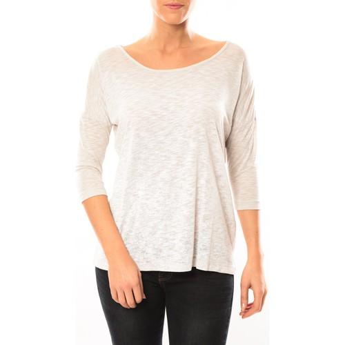 textil Mujer Camisetas manga larga Vero Moda Graing 3/4 Long Top 10104538 Blanc/Beige Beige