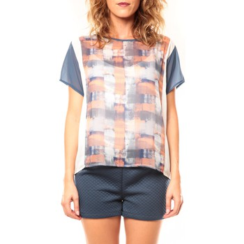 textil Mujer Camisetas manga corta Coquelicot T-shirt CQTW14321 Blanc/Bleu Azul