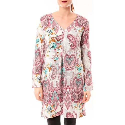 textil Mujer Túnicas Dress Code Robe Moda H G-0080-3 Blanc/Rose Rosa