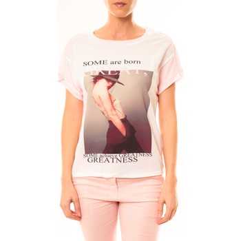 textil Mujer Camisetas manga corta By La Vitrine Tee-shirt B005 Blanc/Rose Rosa