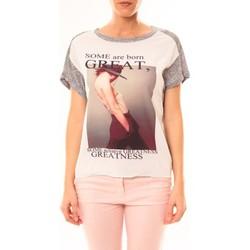 textil Mujer Camisetas manga corta By La Vitrine Tee-shirt B005 Blanc/Gris Gris