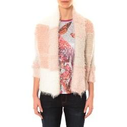 textil Mujer Chaquetas de punto De Fil En Aiguille Gilet Bicolore LOLA blanc et rose Rosa