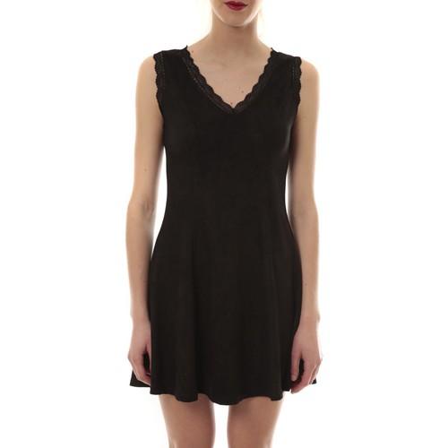 textil Mujer Vestidos cortos Vera & Lucy Robe suedine Noir R 6229 Negro