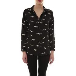 textil Mujer Camisas manga larga Comme Des Filles Chemise Noir Oiseaux Blanc CH105 Negro