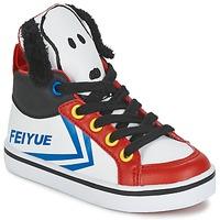 Zapatos Niños Zapatillas altas Feiyue DELTA MID PEANUTS Blanco / Negro / Rojo
