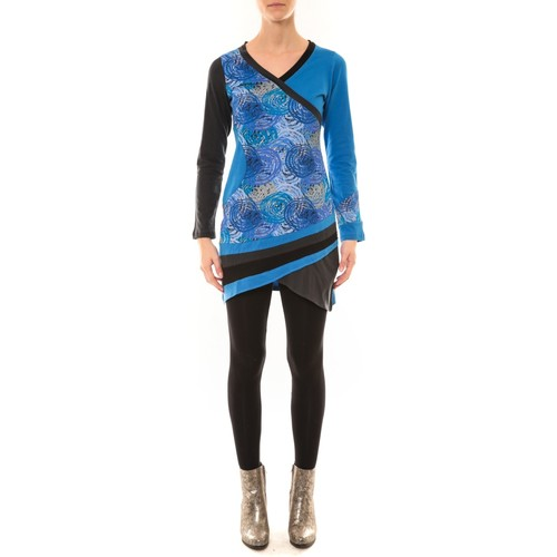 textil Mujer Camisetas manga larga Bamboo's Fashion Robe BW640 bleu Azul