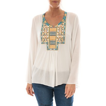 textil Mujer Tops / Blusas Barcelona Moda Top Pink Blanc Broderie Bleu Blanco