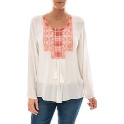 textil Mujer Tops / Blusas Barcelona Moda Top Pink Blanc Broderie Corail Blanco
