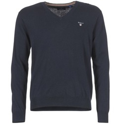 textil Hombre jerséis Gant COTTON WOOL V-NECK Marino