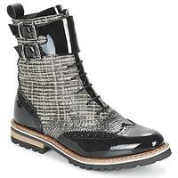 Zapatos Mujer Botas de caña baja Regard RIFADO Gris / Negro / Barniz