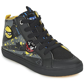 Zapatos Niño Zapatillas altas Geox KIWI BOY Negro / Amarillo