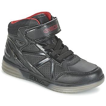 Zapatos Niño Zapatillas altas Geox ARGONAT BOY Negro / Rojo