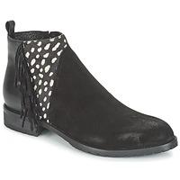 Zapatos Mujer Botas de caña baja Meline VELOURS NERO PLUME NERO Negro / Blanco