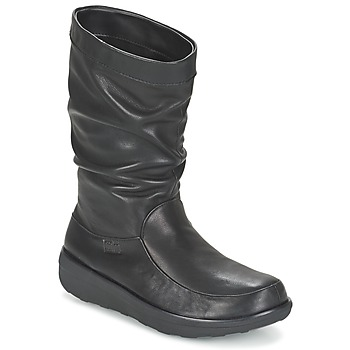 Zapatos Mujer Botas de caña baja FitFlop LOAF SLOUCHY KNEE BOOT LEATHER Negro