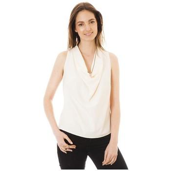 textil Mujer camisetas sin mangas Little Marcel Débardeur Tina Ecru Blanco