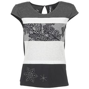 textil Mujer camisetas manga corta Desigual KITEPI Blanco / Gris / Negro