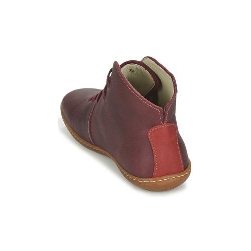 De Mujer Viajero El Caña Naturalista Zapatos Botas Baja Burdeo PXZiOku