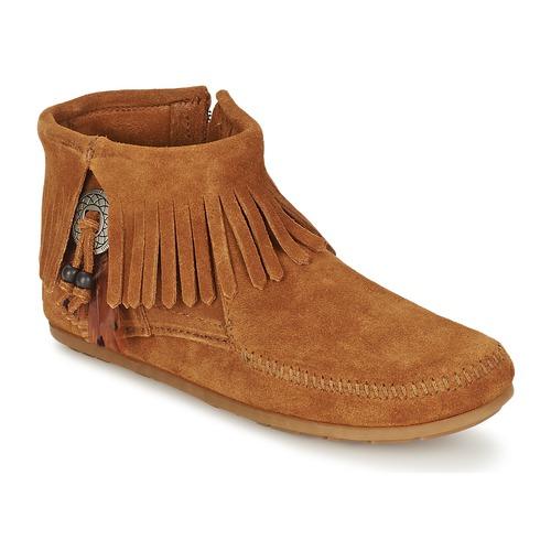 Los zapatos más populares para hombres y mujeres Zapatos especiales Minnetonka CONCHO FEATHER SIDE ZIP BOOT Marrón