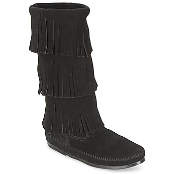 Zapatos Mujer Botas urbanas Minnetonka CALF HI 3 LAYER FRINGE BOOT Negro