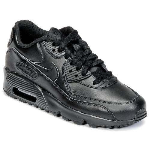 Zapatos Niños Zapatillas bajas Nike AIR MAX 90 LEATHER GRADE SCHOOL Negro