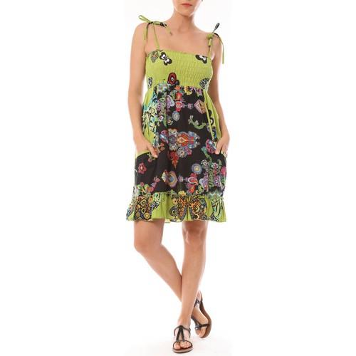 textil Mujer Vestidos cortos By La Vitrine Robe Bretelle Kolossi imprimée Fleurs Verde