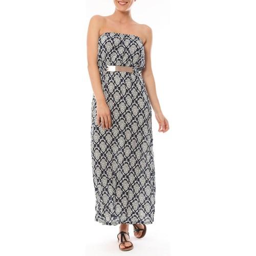 textil Mujer Vestidos largos Dress Code Robe Longue 9597 Bleu imprimée fleurs Azul