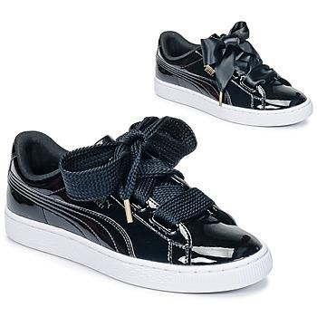 Zapatos Mujer Zapatillas bajas Puma BASKET HEART PATENT WN'S Negro