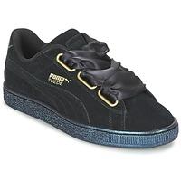 Zapatos Mujer Zapatillas bajas Puma BASKET HEART SATIN WN'S Negro