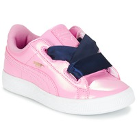 Zapatos Niña Zapatillas bajas Puma BASKET HEART PATENT PS Rosa / Marino