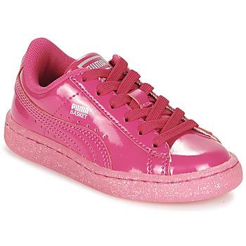 Zapatos Niña Zapatillas bajas Puma BASKET PATENT ICED GLITTER PS Rosa