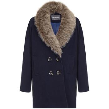 textil Mujer plumas Anastasia Abrigo de invierno para mujer cuello de piel Blue