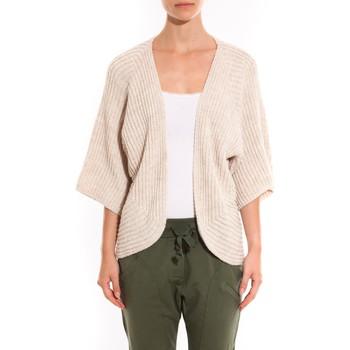 textil Mujer Chaquetas de punto Barcelona Moda Gilet Ecru argentée manche 3/4 Blanco