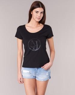 textil Mujer camisetas manga corta Armani jeans LASSERO Negro