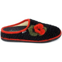 Zapatos Mujer Pantuflas Fargeot Siberie Noir Fleur Negro