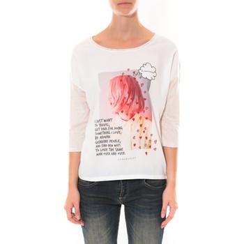textil Mujer Camisetas manga larga Coquelicot Tee shirt   Blanc 16425 Blanco