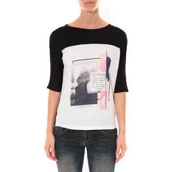 textil Mujer Camisetas manga larga Coquelicot Tee shirt  Noir & Blanc 16409 Negro