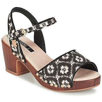 Zapatos Mujer Zuecos (Clogs) Lollipops ZOOM WOOD HEEL SANDAL Negro / Blanco