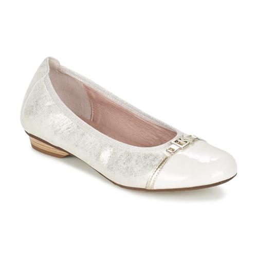 Zapatos Mujer Bailarinas-manoletinas Dorking TELMA Plateado / Beige