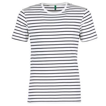 textil Hombre camisetas manga corta Benetton MAKOUL Azul / Blanco