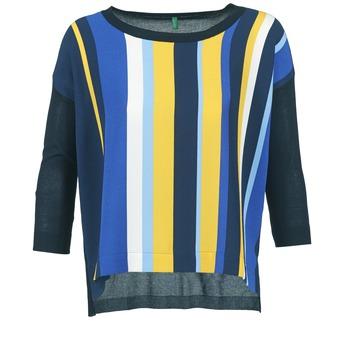 textil Mujer jerséis Benetton OVEZAK Azul / Amarillo / Blanco