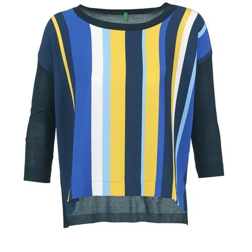 Benetton OVEZAK Azul / Amarillo / Blanco - Envío gratis | ! - textil jerséis Mujer