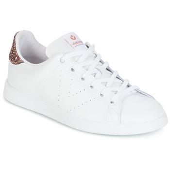 Zapatos Mujer Zapatillas bajas Victoria DEPORTIVO BASKET PIEL Blanco / Rosa / Glitter
