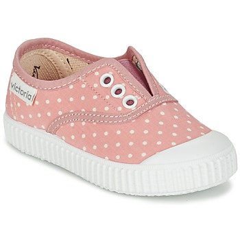 Zapatos Niña Zapatillas bajas Victoria INGLESA LUNARES ELASTICO Rosa / Blanco