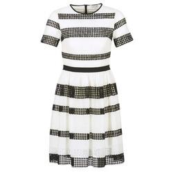 textil Mujer Vestidos cortos MICHAEL Michael Kors GRAPHIC CR STRIPE DRS Negro / Blanco