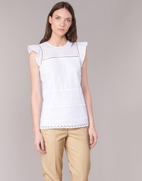 textil Mujer Tops / Blusas MICHAEL Michael Kors COMBO EYELET S/S Blanco