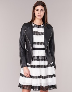 textil Mujer Chaquetas de cuero / Polipiel MICHAEL Michael Kors CHAIN FRONT BIKER Negro