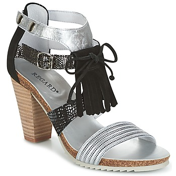 Zapatos Mujer Sandalias Regard RIKA Plata / Negro